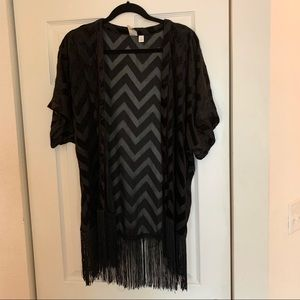 Other - Size small fringe, chevron print poncho coverup